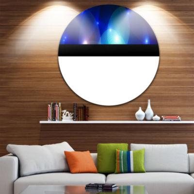Designart Dark Blue Fractal Lights in Fog AbstractRound Circle Metal Wall Art Panel