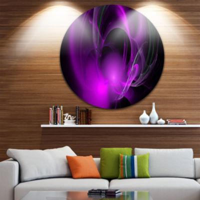 Designart Purple Fractal Galactic Nebula AbstractRound Circle Metal Wall Art Panel