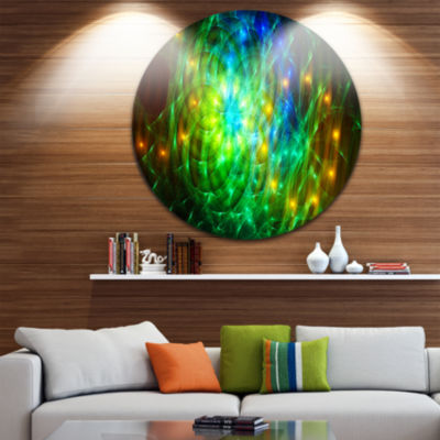 Designart Green Fractal Symphony of Colors Abstract Round Circle Metal Wall Art Panel
