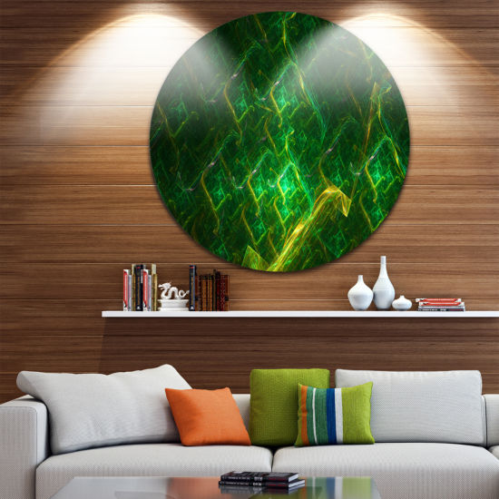 Designart Green Fractal Electric Lightning Abstract Art on Round Circle Metal Wall Art Panel