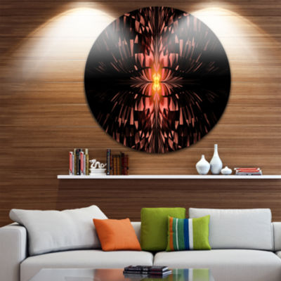 Designart Brown Butterfly Pattern on Black Abstract Art on Round Circle Metal Wall Art Panel