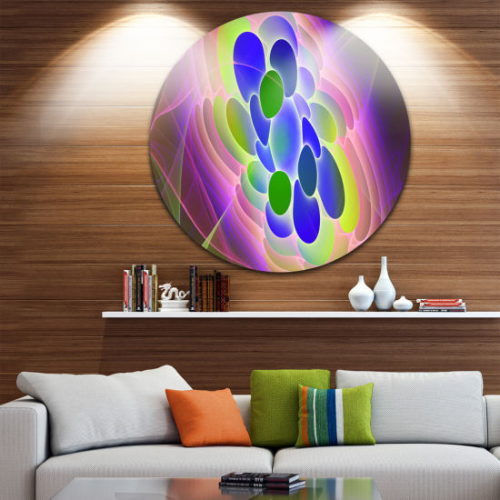 Designart Blue Green Fractal Virus Design AbstractArt on Round Circle Metal Wall Art Panel