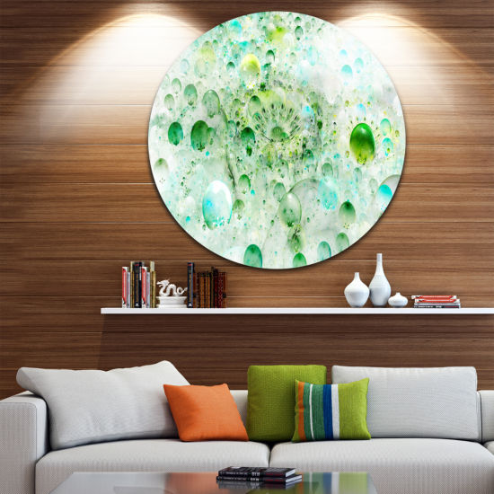 Designart Green Blue Fractal Molecules Abstract Round Circle Metal Wall Art Panel