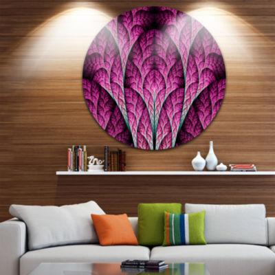 Designart Exotic Pink Biological Organism AbstractArt on Round Circle Metal Wall Art Panel