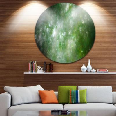 Designart Blur Green Starry Fractal Sky Abstract Round Circle Metal Wall Art