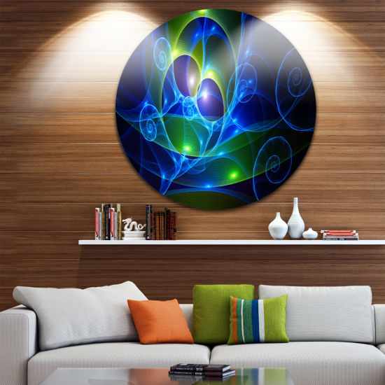 Designart Blue Curly Spiral on Black Abstract Round Circle Metal Wall Art Panel