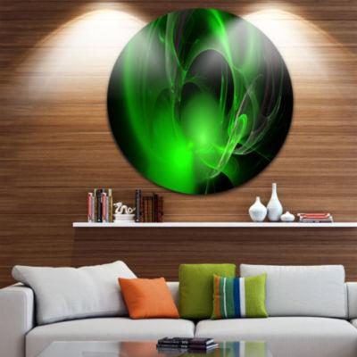 Designart Green Galactic Nebula on Black AbstractRound Circle Metal Wall Art Panel