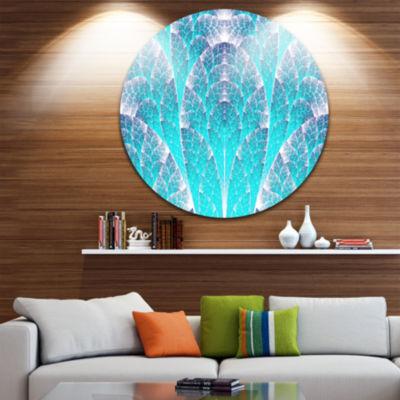 Designart Exotic Blue Biological Organism AbstractArt on Round Circle Metal Wall Art Panel