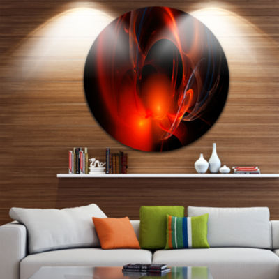 Designart Red Galactic Nebula on Black Abstract Round Circle Metal Wall Art Panel