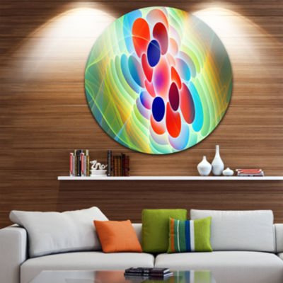 Designart Red Blue Fractal Virus Design Abstract Art on Round Circle Metal Wall Art Panel