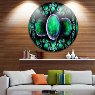 Designart Green Exotic Fractal Pattern Abstract Art on Round Circle Metal Wall Art Panel