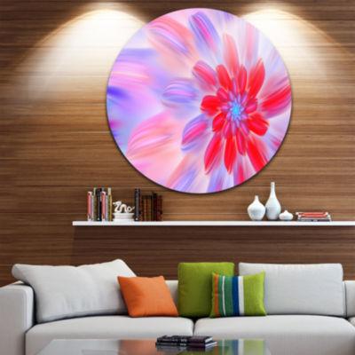 Designart Dance of Fractal Pink Petals Abstract Round Circle Metal Wall Art Panel