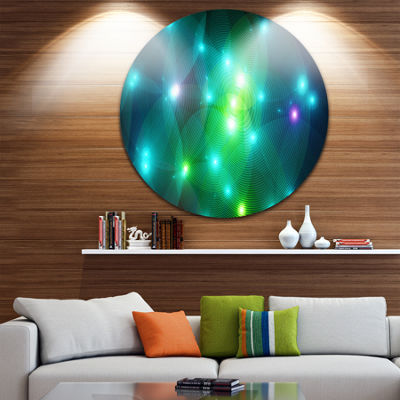 Designart Multi Color Fractal Lights in Fog Abstract Round Circle Metal Wall Art Panel