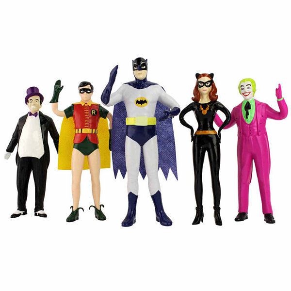 DC Comics - Batman 1966 Bendable Figure Set: The Penguin- Robin- Batman- Catwoman- The Joker