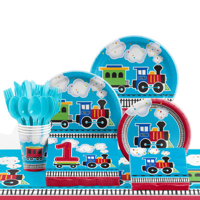 Creative Converting All Aboard Train 1st Birthday Party Supplies Kit