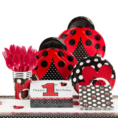 Creative Converting Ladybug Fancy 1st Birthday Party Supplies Kit