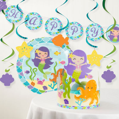 Creative Converting Mermaid Friends Birthday Party Decorations Kit