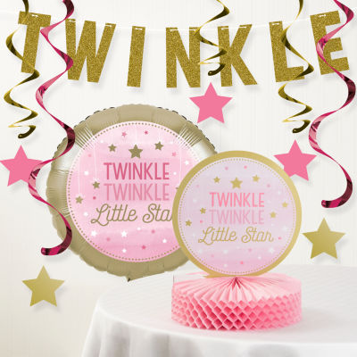 Creative Converting One Little Star Girl Birthday Party Decorations Kit