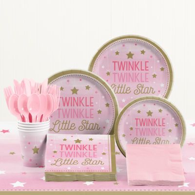 Creative Converting One Little Star Girl Birthday Party Supplies Kit
