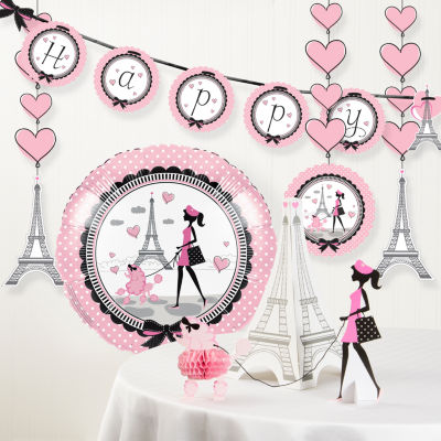 Creative Converting Party in Paris Birthday Party Decorations Kit