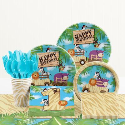 Creative Converting Safari Adventure 1st Birthday Party Supplies Kit