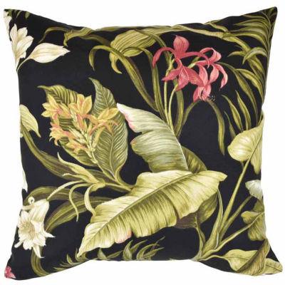 Black Tropical Floral Outdoor Throw Pillow