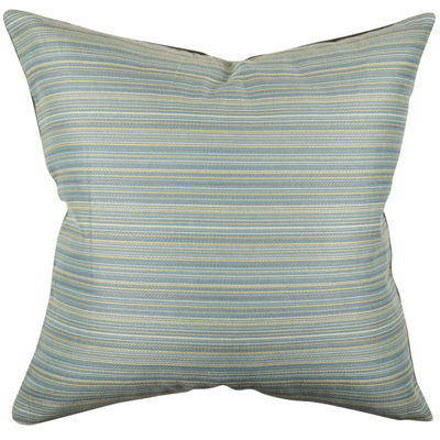 Blue Ticking Stripe Designer Throw Pillow