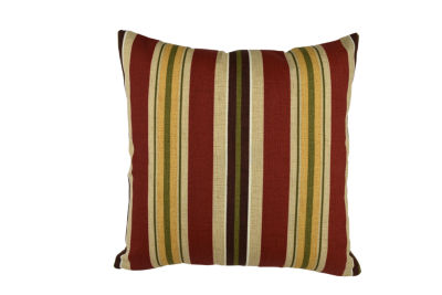 Bold Red Classic Stripes Outdoor Throw Pillow