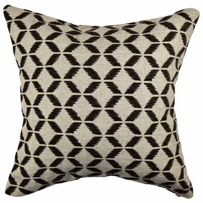 Tan and Black Scandinavian Jacquard Throw Pillow