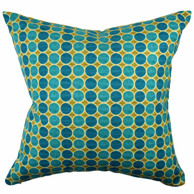 Teal Polka Dot Designer Throw Pillow