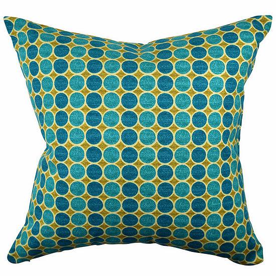 Teal Polka Dot Designer Throw Pillow
