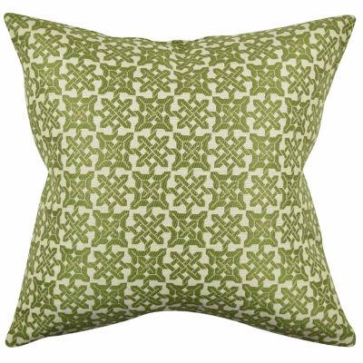 Vesper Lane Green Eclectic Square Motif Throw Pillow