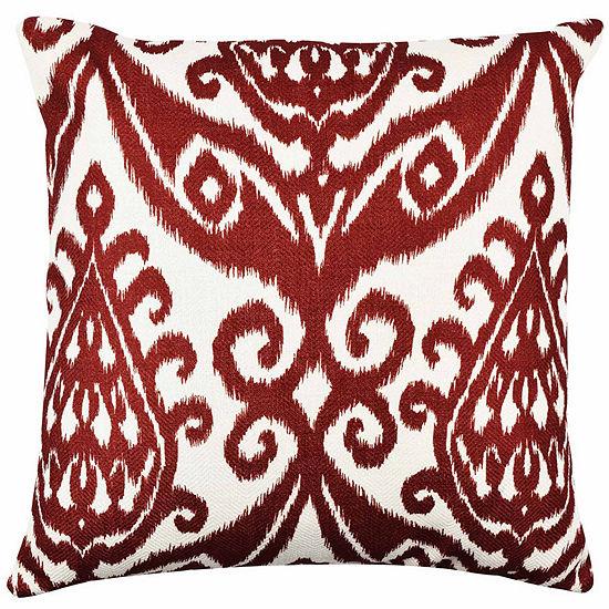 Vesper Lane Rich Red Ikat Throw Pillow