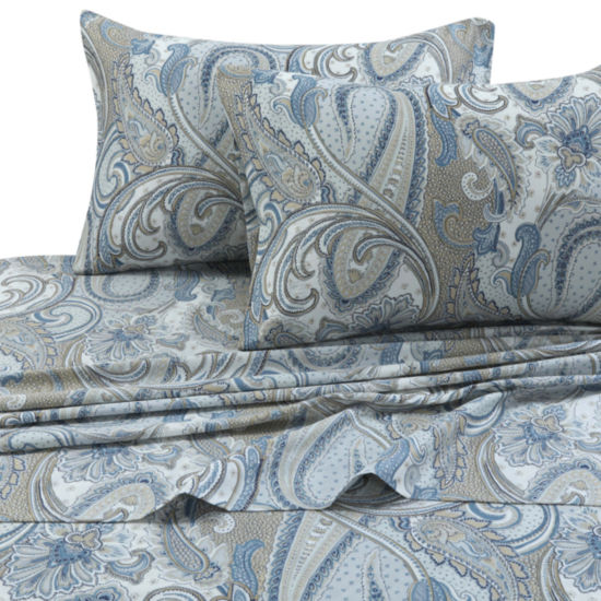 Tribeca Living Paisley Park 300 Thread Count Cotton Extra Deep Pocket Sheet Set
