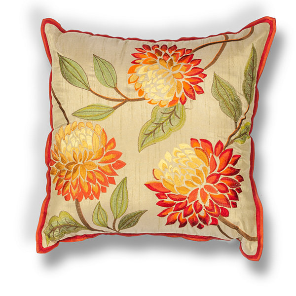 Kas Chrysanthemum Square Throw Pillow