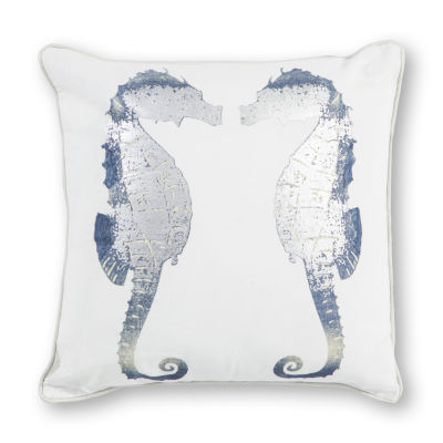 Kas Seahorses Square Throw Pillow
