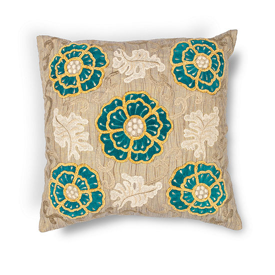 Kas Blooms Square Throw Pillow