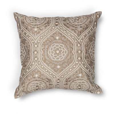 Kas Silver Square Throw Pillow