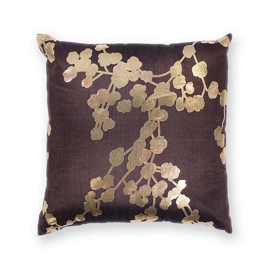 Kas Chocolate Square Throw Pillow