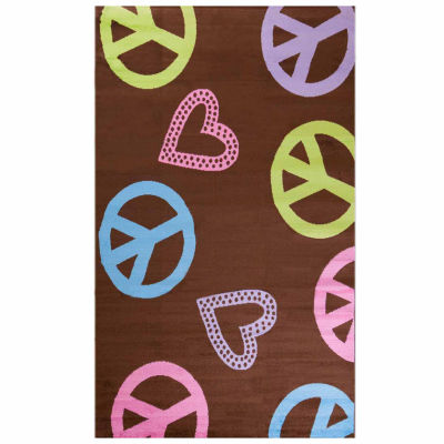 Concord Global Trading Alisa Collection Peace & Polka Hearts Rug