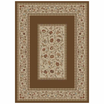 Concord Global Trading Ankara Collection Floral Border Accent, Area, Rectangular, Runner and Round Rugs