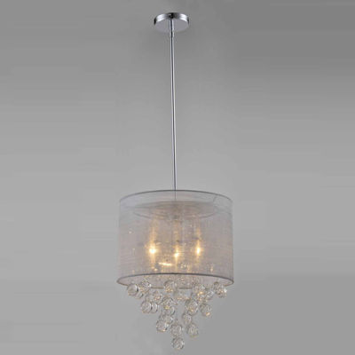 Tenbury Wells Collection Charlotte Silver Textured Silk Shade 3-Light Chrome Crystal Chandelier with Bubbles Glass Ball
