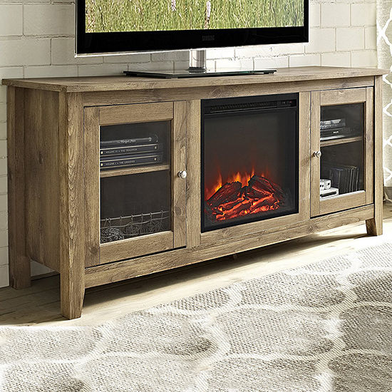 "58"" Wood Media TV Stand Console with Electric Fireplace"