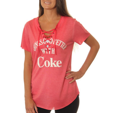 "Coca-Cola Juniors' ""Things Go Better with Coke"" Lace-Up Washed Short Sleeve Graphic T-Shirt"""