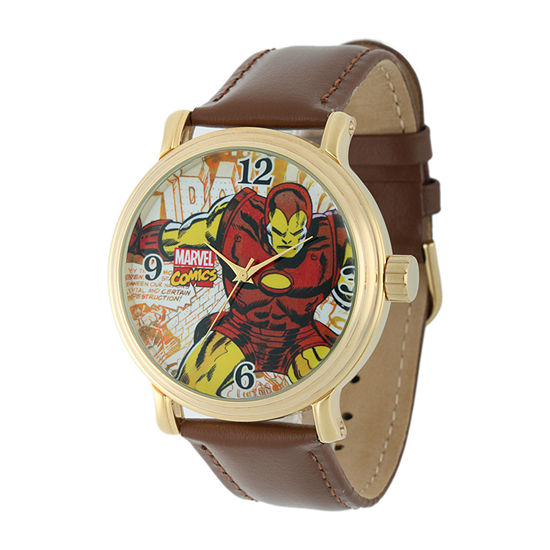 Marvel Mens Brown Leather Strap Watch-W001765