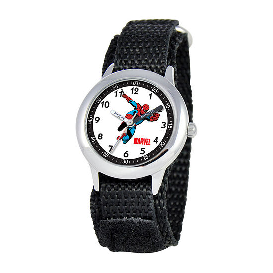 Marvel Spiderman Boys Black Strap Watch-W000115