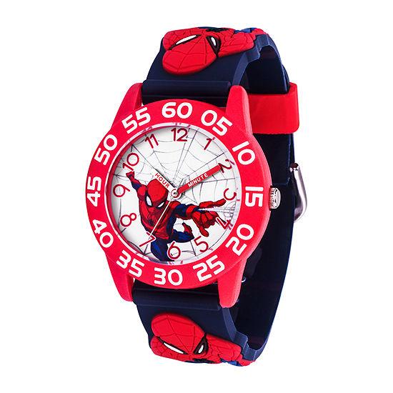 Marvel Spiderman Boys Blue Strap Watch-Wma000409