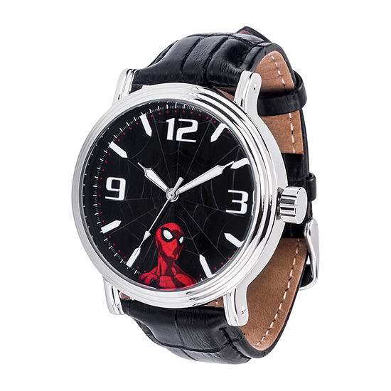 Marvel Spiderman Mens Black Leather Strap Watch-Wma000421