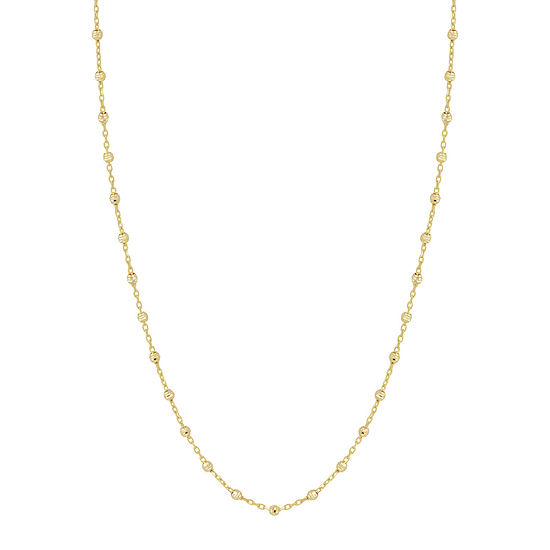 14K Gold 17 Inch Bead Chain Necklace