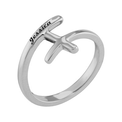 Personalized 14K White Gold Sideways Cross Name Ring